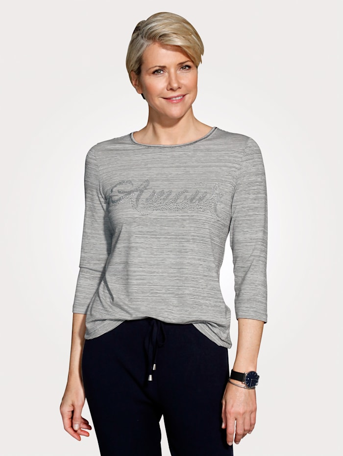 MONA T-shirt avec strass, Gris/Blanc/Noir