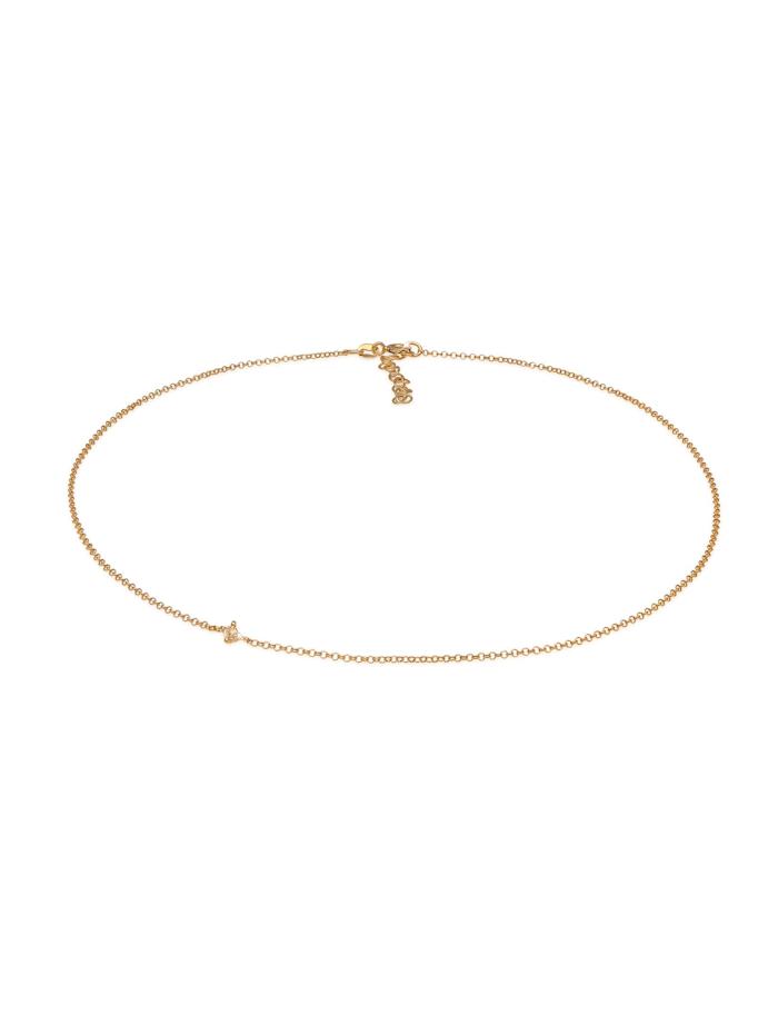 Elli Halskette Choker Erbskette Zirkonia Solitär Zart 925 Silber, Gold
