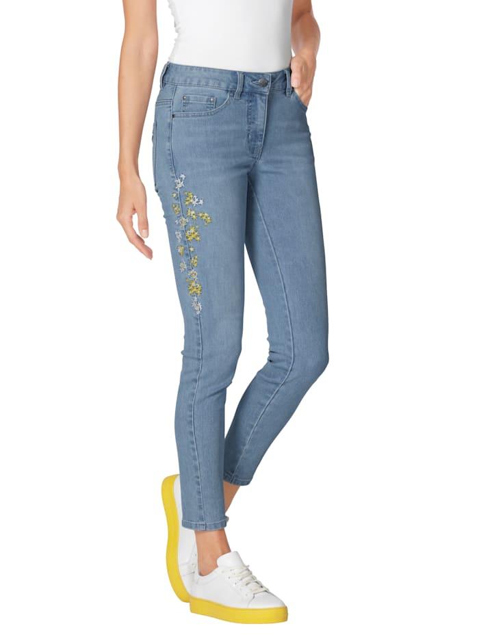 Jeans mit Blüten-Stickerei