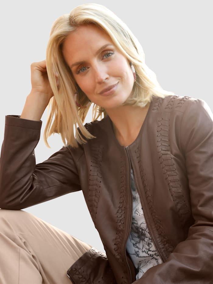 Paola Lederjacke mit Flecht-Details, Braun