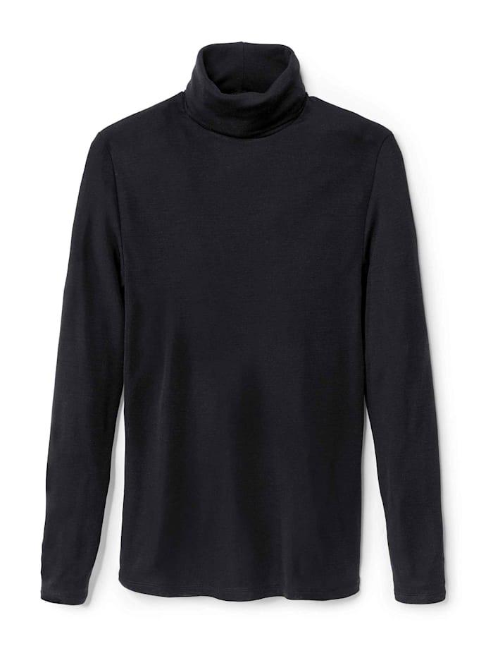 Calida Langarm-Shirt mit Rollkragen aus Wolle-Seide Ökotex zertifiziert, platin melé