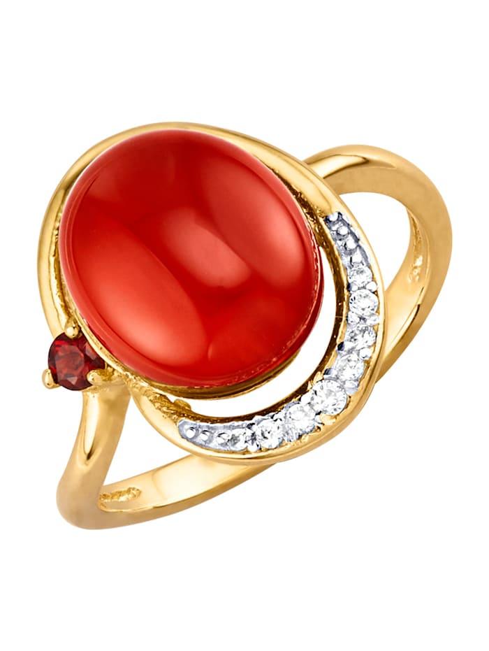 Ring i silver 925, Röd