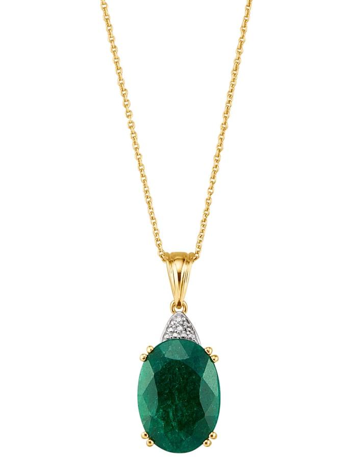Hanger met smaragd en ketting