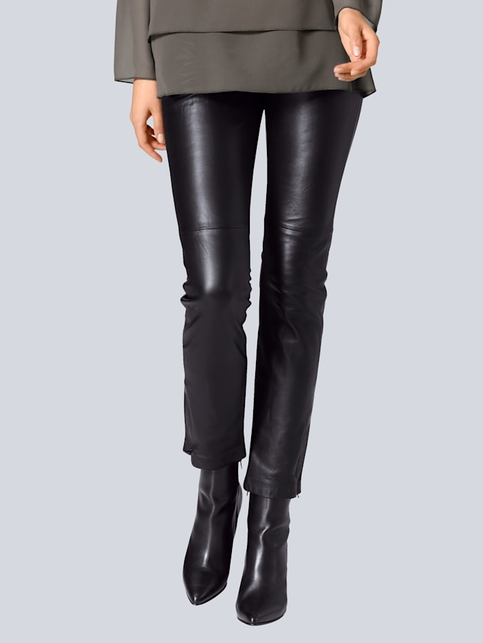 Alba Moda Lederleggings in softem Lammnappa, Schwarz