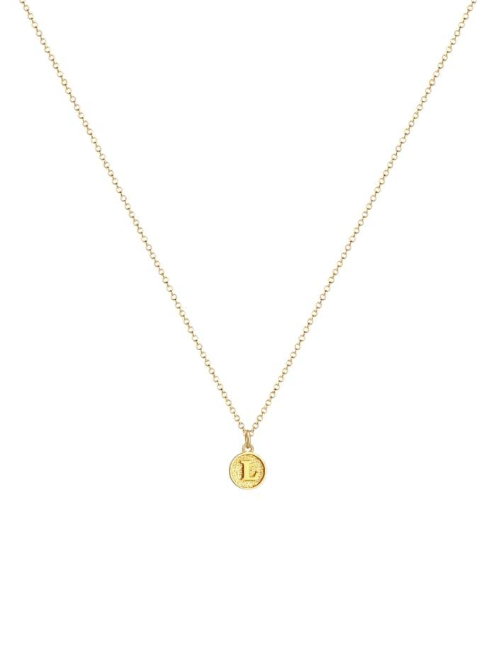 Halskette Buchstabe L Initialen Vintage Plättchen 925 Silber