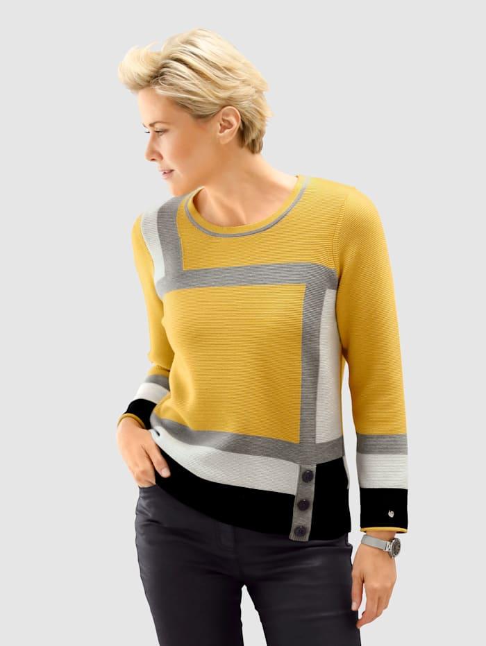 Rabe Tričko s intarzným pletením, Žltá/Biela/Čierna