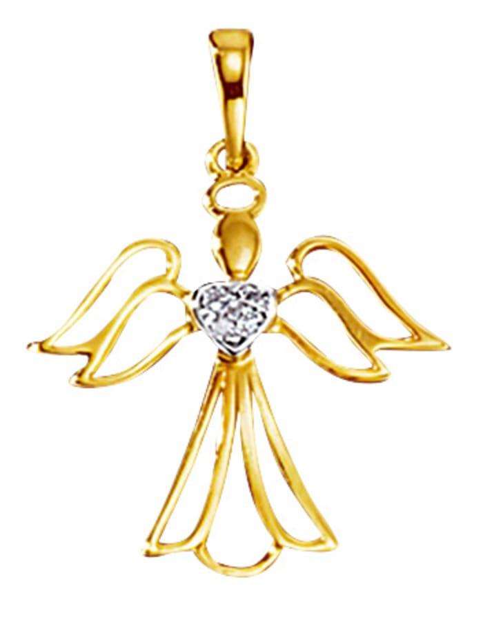 Hanger Engel met diamanten, Geelgoudkleur