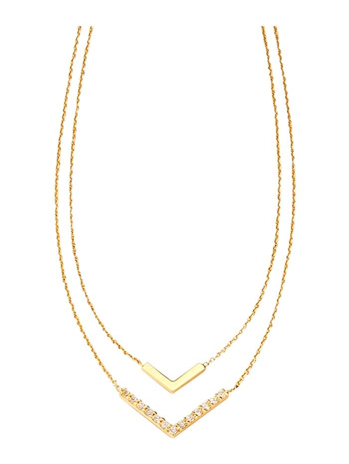 Collier mit weißen Kristallen, Gelbgoldfarben