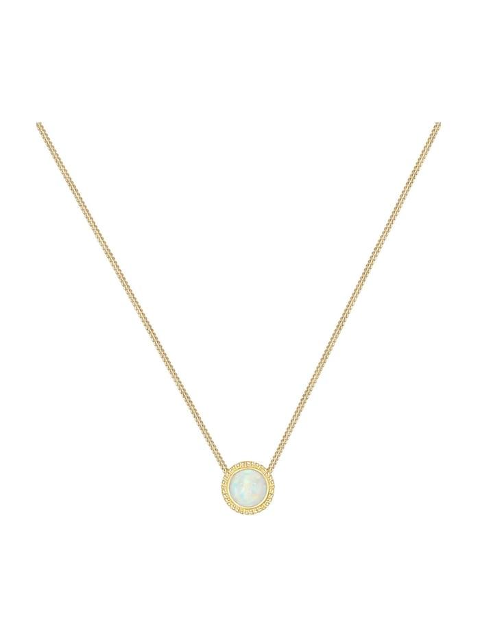 Halskette Vintage Boho Synthetischer Opal Trend 925Er Silber