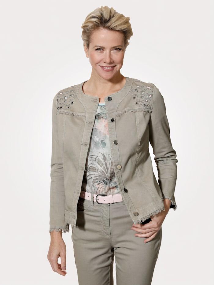 MONA Jeansjacke mit modernen Details, Salbeigrün