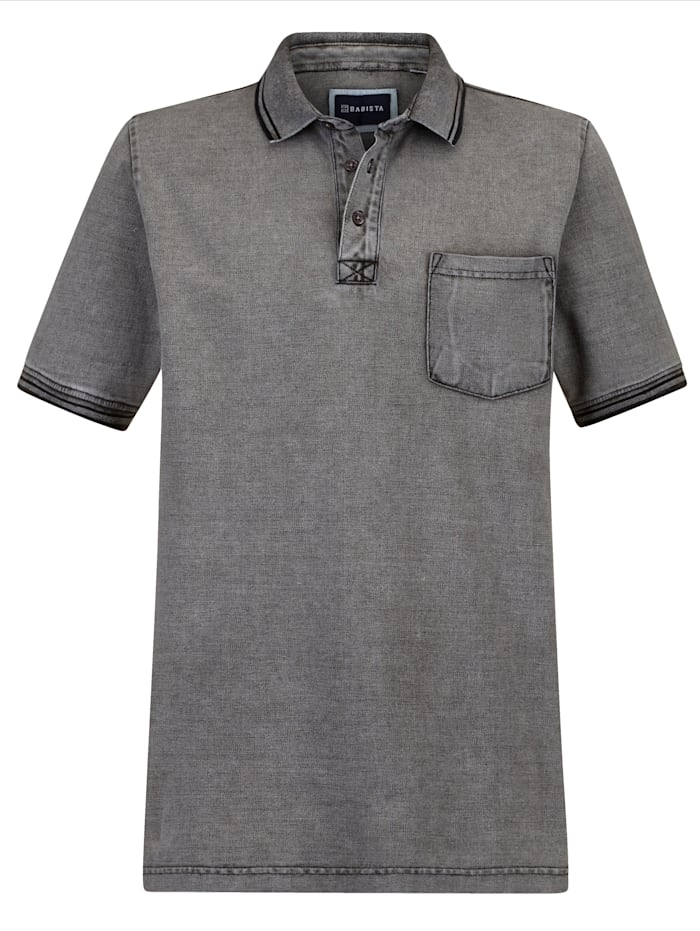 BABISTA Poloshirt in washed used look, Grijs