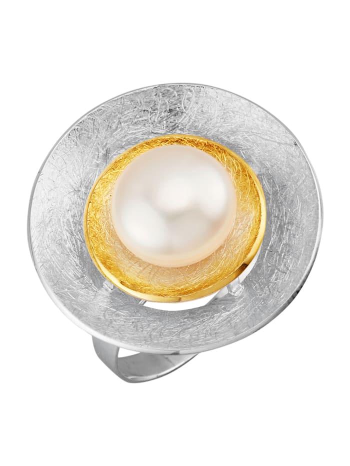 Damenring mit Süßwasser-Zuchtperle, Weiß
