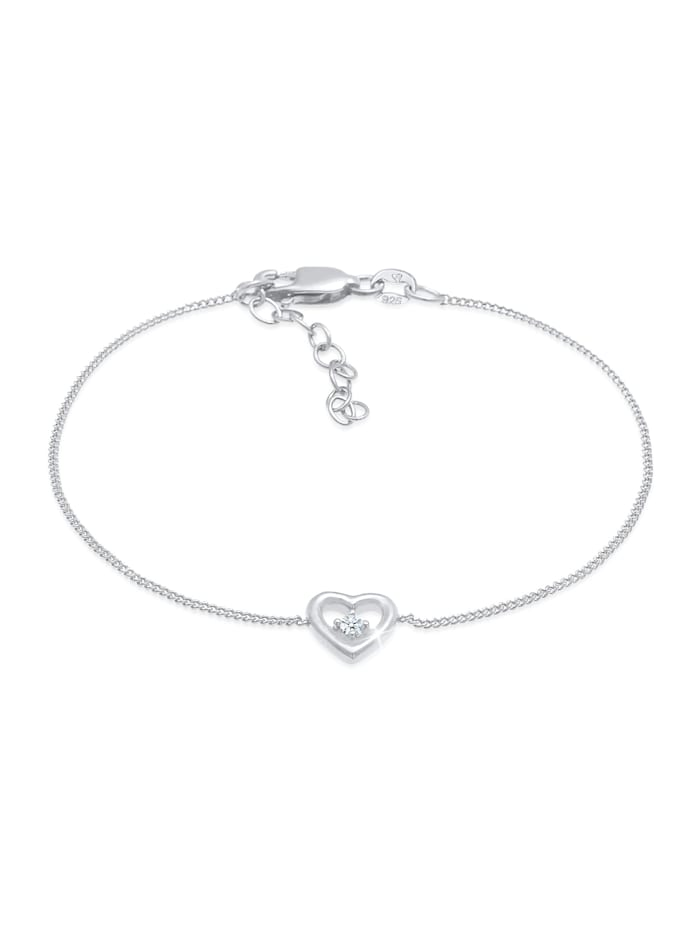 DIAMORE Armband Herz Liebe Romantik Diamant (0.03 Ct) 925 Silber, Silber