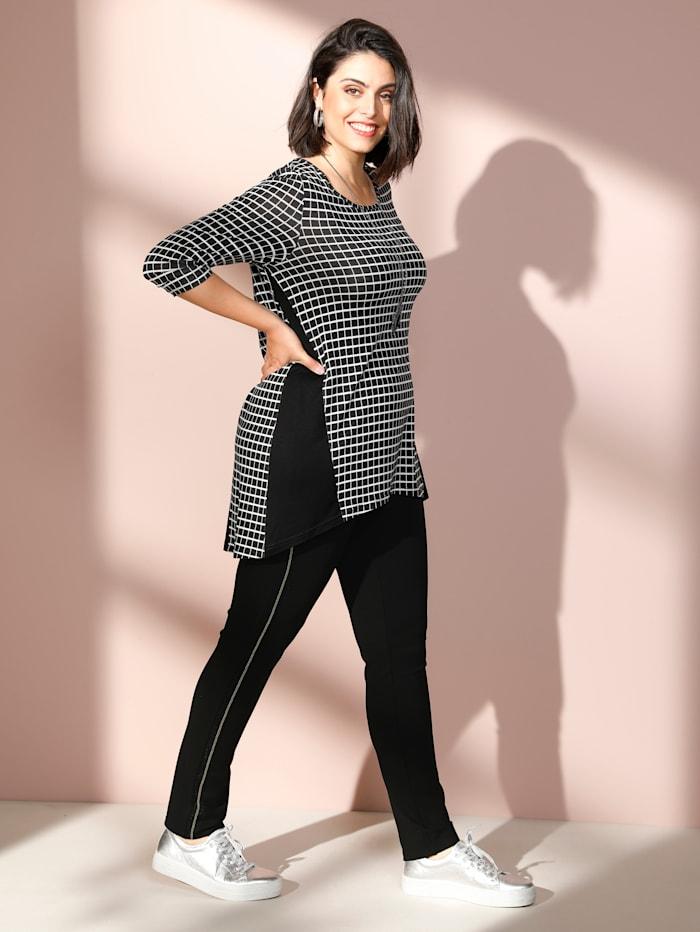 MIAMODA T-shirt long de coupe plus longue au dos, Noir/Blanc