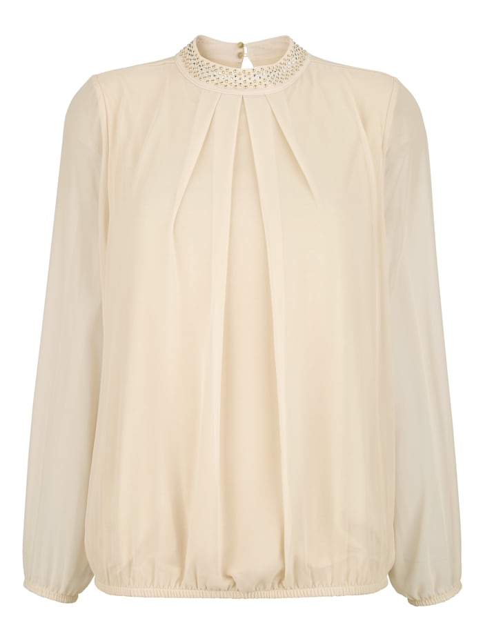 Pull-on blouse with beading and rhinestones