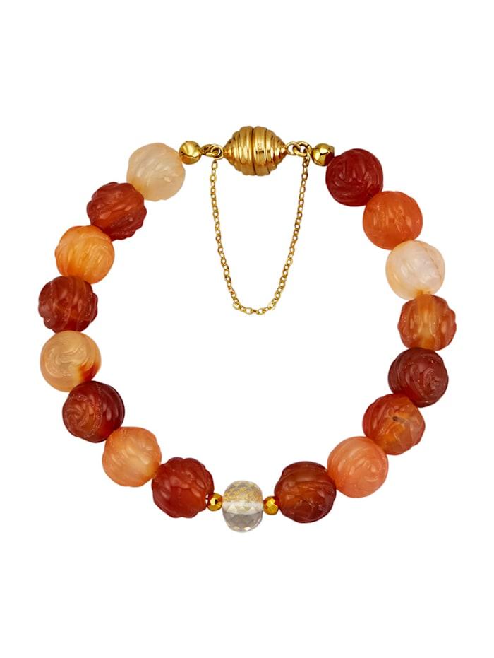 Carneol-Armband mit Pyrit, Bergkristall und Blattgold, Multicolor