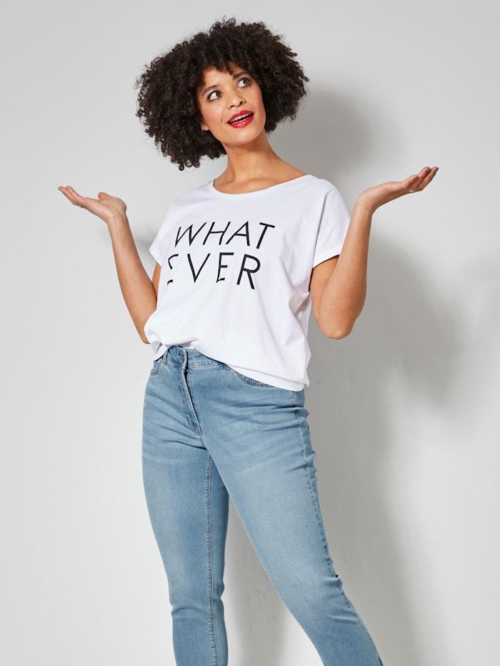 Janet & Joyce Shirt mit angesagtem Statementprint, Weiß