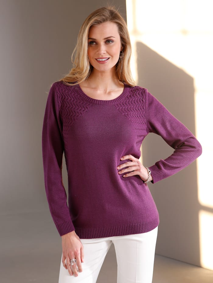 Paola Pullover mit Strickmustermix, Brombeere