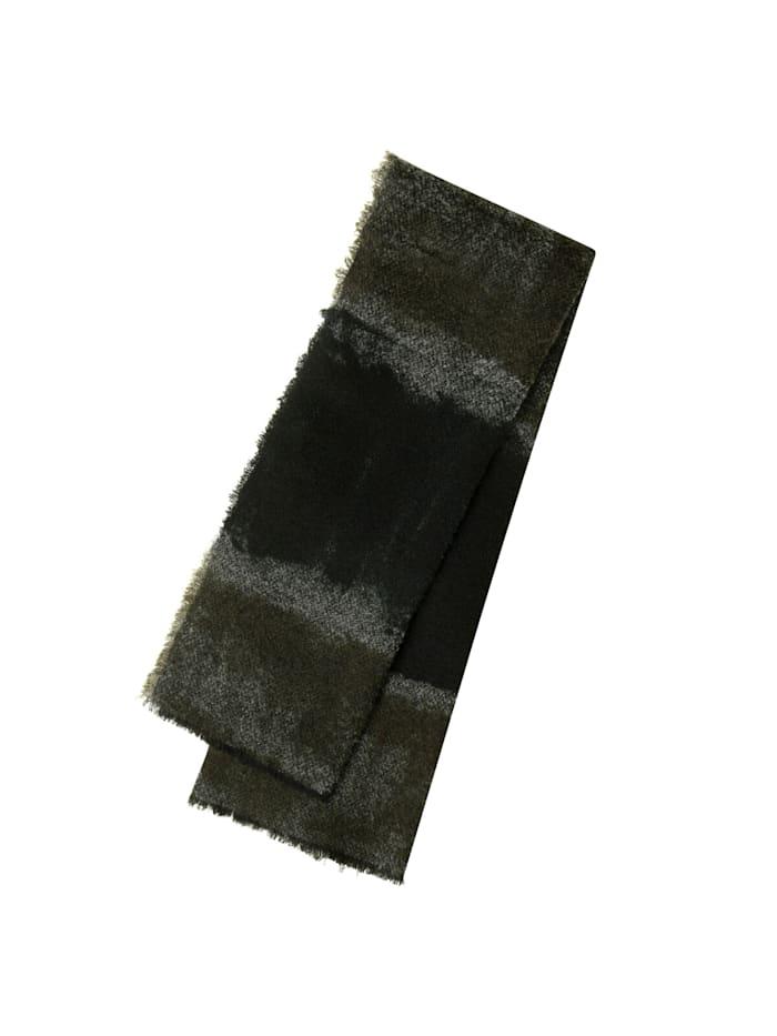 Codello Premium Bouclé-Schal mit handgemalten Streifen – Made in Italy, olive