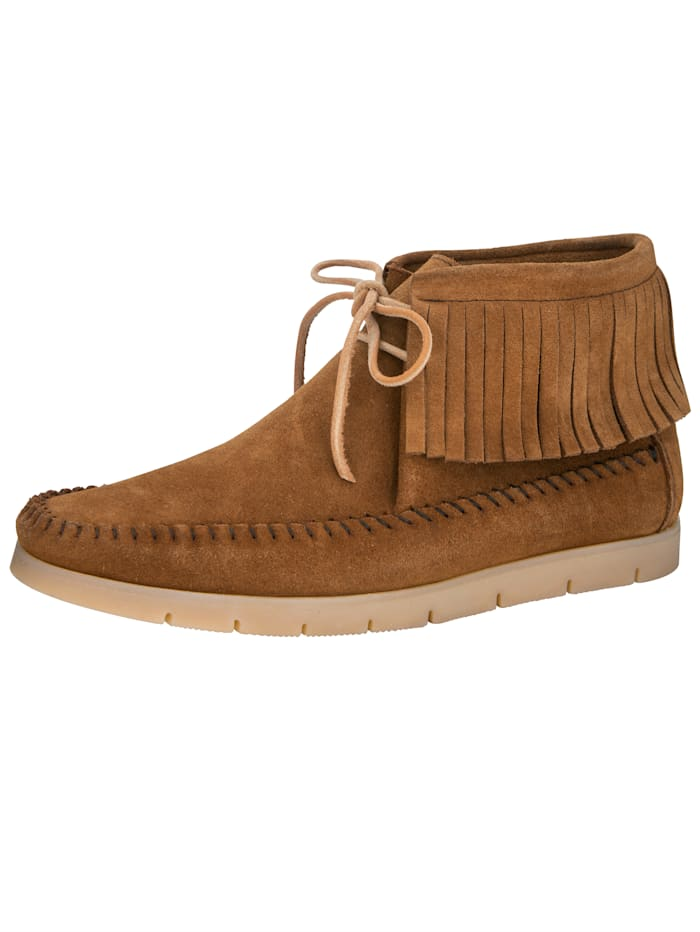Naturläufer Ankle boots in a moccasin-style finish, Cognac