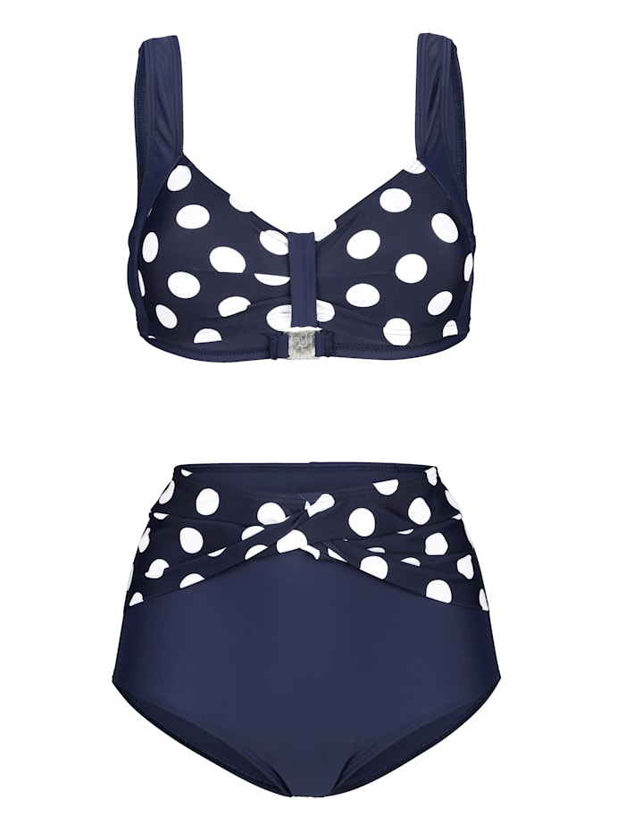 Maritim Bikini met modieus stippendessin, marine/wit