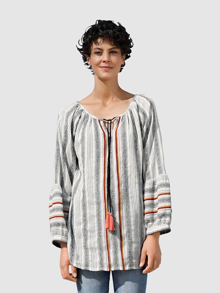 Dress In Blouse van structuurmateriaal, Wit