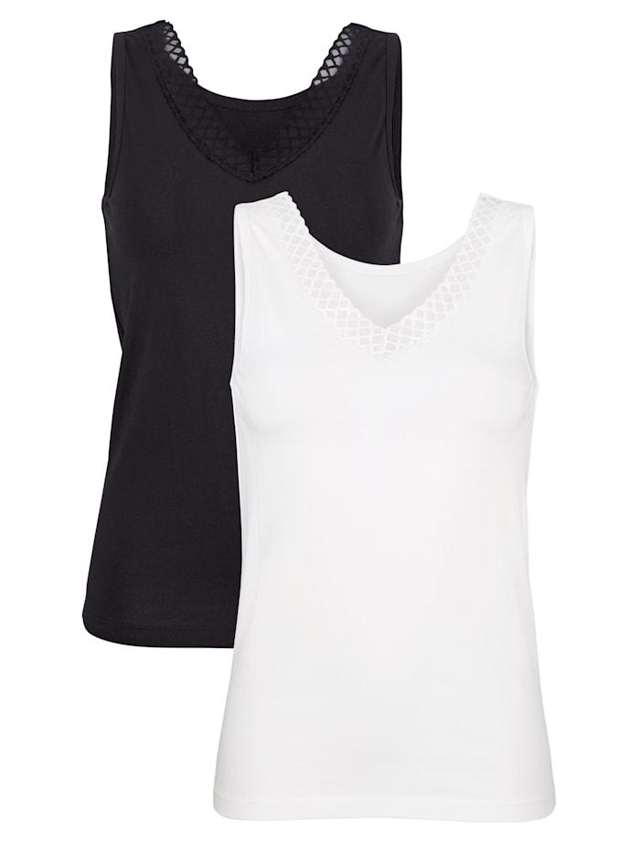 Harmony Achselhemden mit bestickter Mesheinfassung am Ausschnitt, Schwarz/Weiß