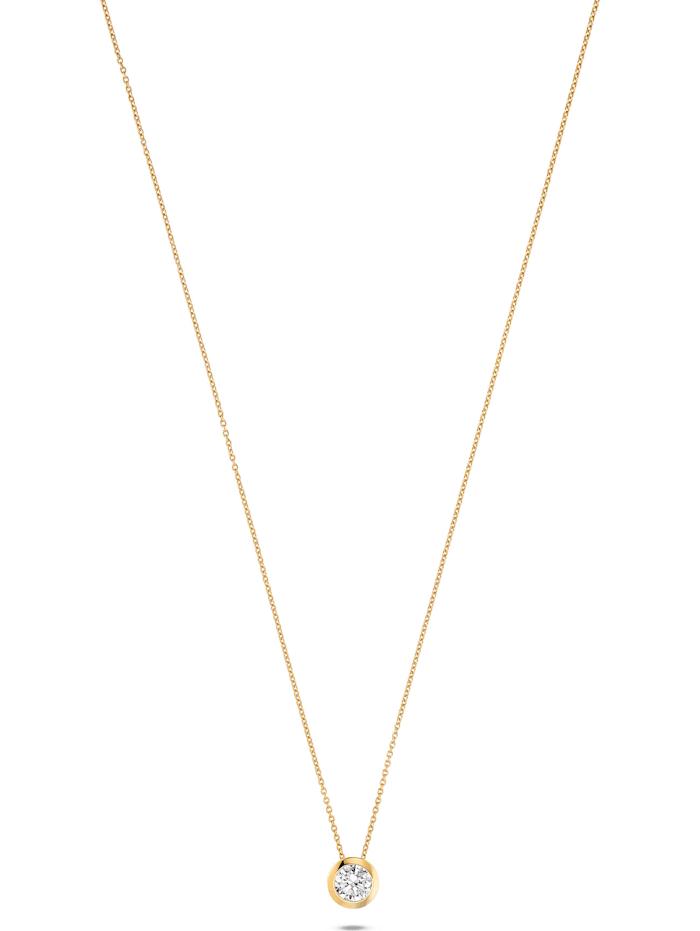 Jette JETTE Damen-Kette 925er Silber 1 Zirkonia, gold