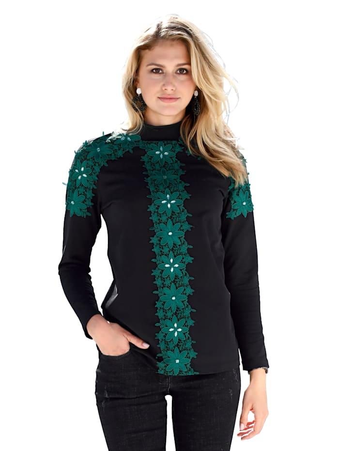 AMY VERMONT Sweatshirt mit Spitze und Strasssteindekoration, Schwarz