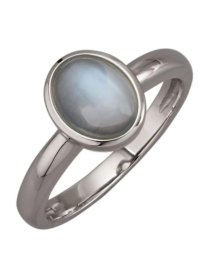 Diemer Platin Damenring mit weißem Mondstein, Weiß