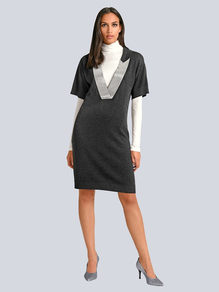 Alba Moda Kleid mit dekorativem Schmuckband am Ausschnitt, Anthrazit