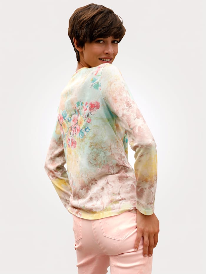 Jumper with a multi-coloured print pattern