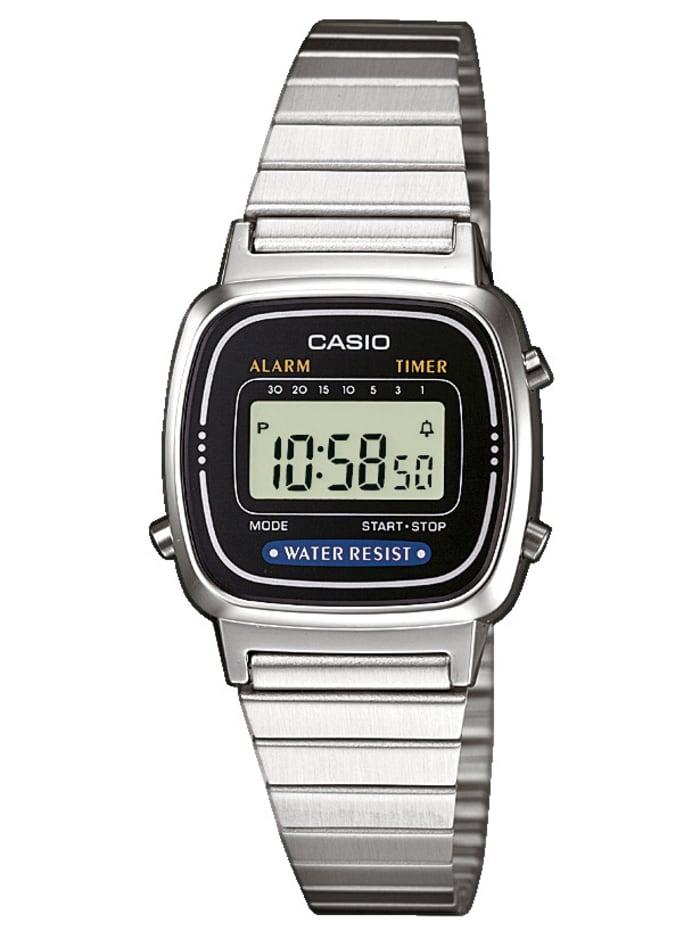 Casio Damenuhr-Chronograph LA670WEA-1EF, Silberfarben