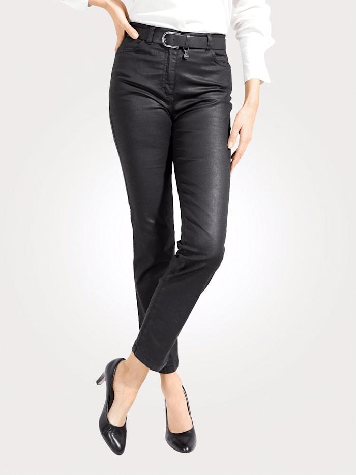 Toni 5-Pocket-Hose in Leder-Optik, Schwarz