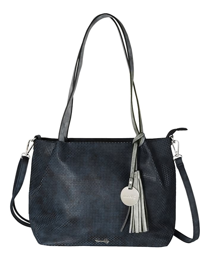 Taschenherz Väskor med präglat mönster 2 delar, Marinblå