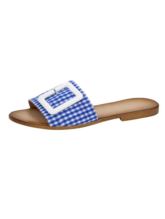 Pantolette in modicher Vichy-Karo-Optik, Blau/Weiß