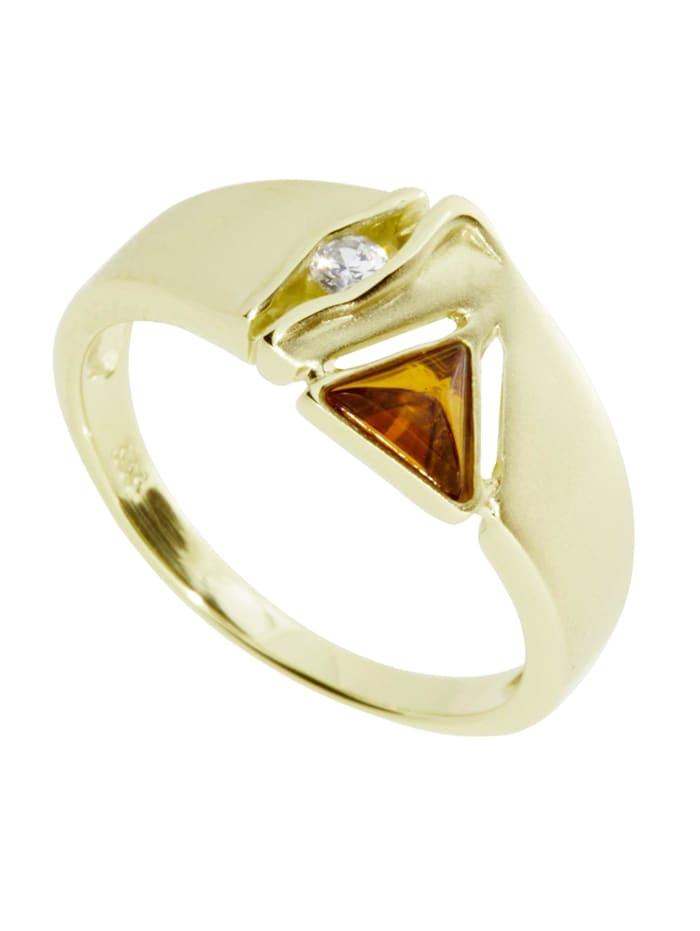 OSTSEE-SCHMUCK Ring - Benita - Gold 333/000 - Bernstein/Zirkonia, gold