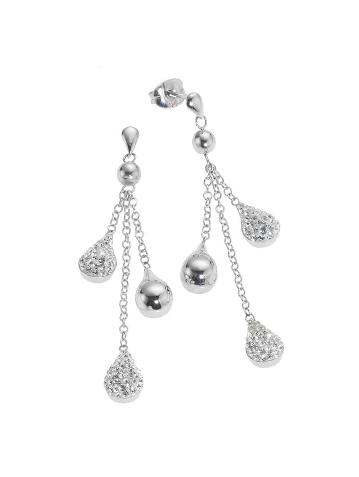 Ohrhänger 925/- Sterling Silber Swarovski Kristalle weiß 4,5cm Glänzend 925/- Sterling Silber