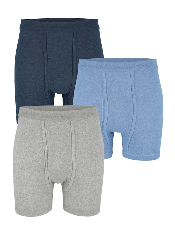 Boxershorts, Marine/Lichtblauw/Lichtgrijs