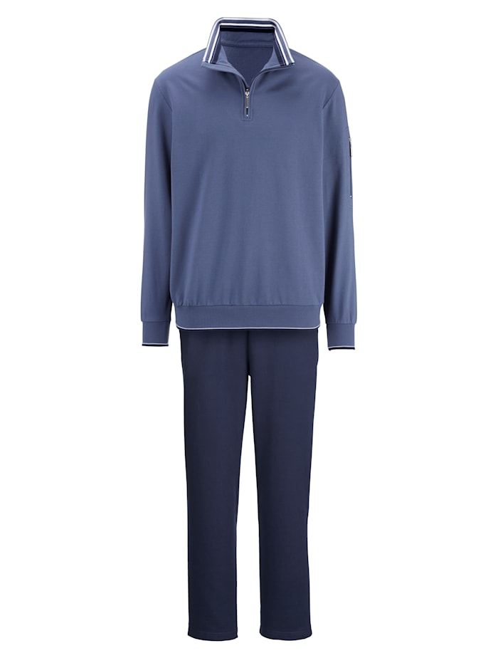 G Gregory Freizeitanzug mit Ärmelreißverschlusstasche, Blau/Weiß/Marineblau