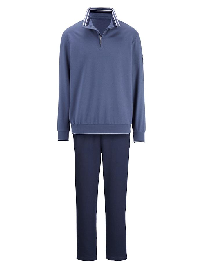 G Gregory Tenue de loisirs avec poche zippée sur la manche, Bleu/Marine/Blanc