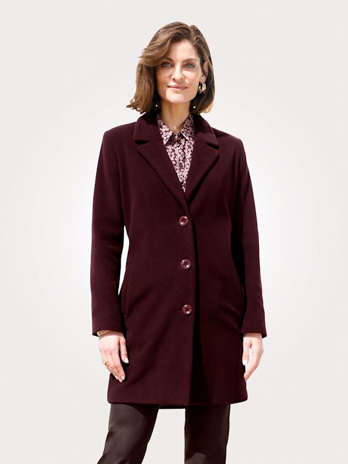 MONA Wool-blend short coat in classic style, Bordeaux