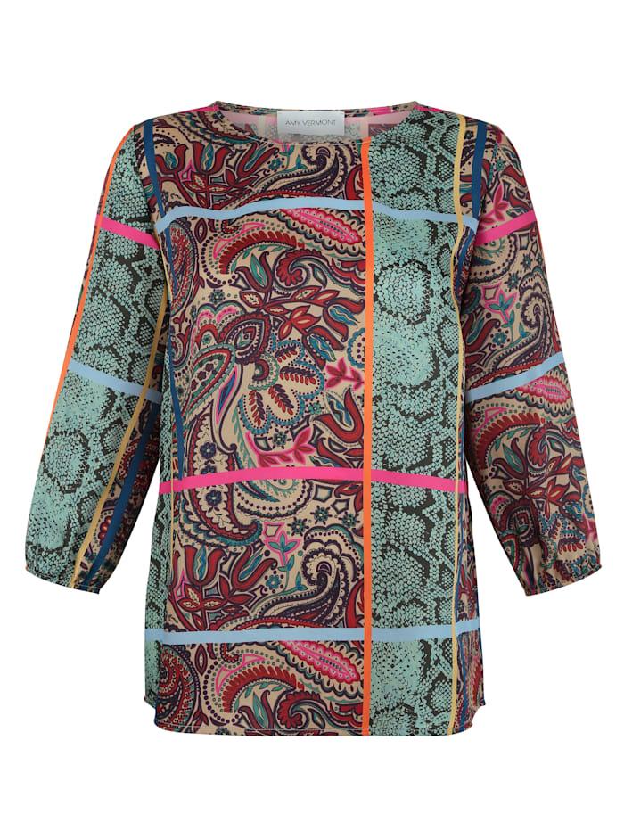 Tuniek in een bontgekleurde patronenmix