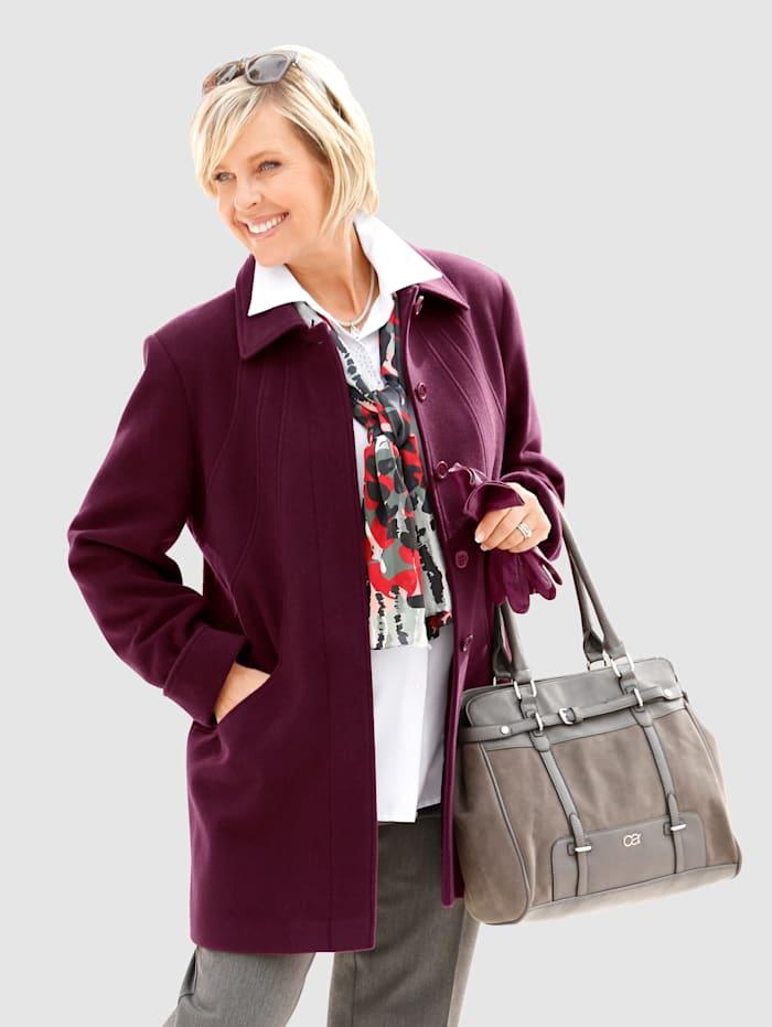 Wollen jas met platte kraag