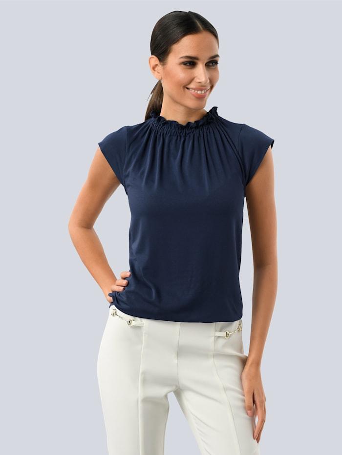 Alba Moda Shirt mit Rüschen-Stehkragen, Marineblau