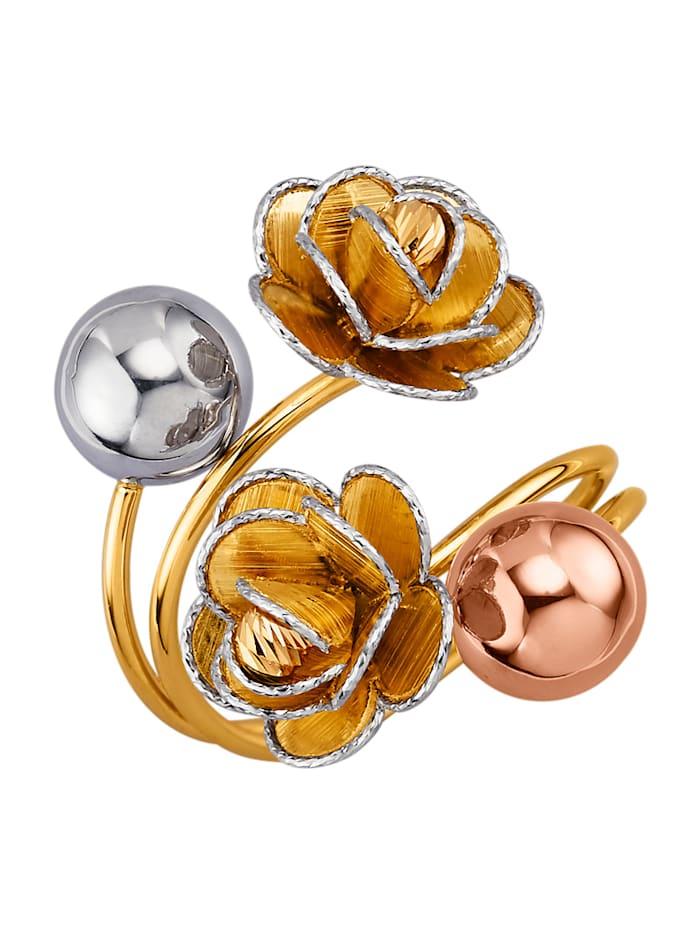 Diemer Gold Ring Bloemen van 14 kt. geel-, wit- en roodgoud, Geel