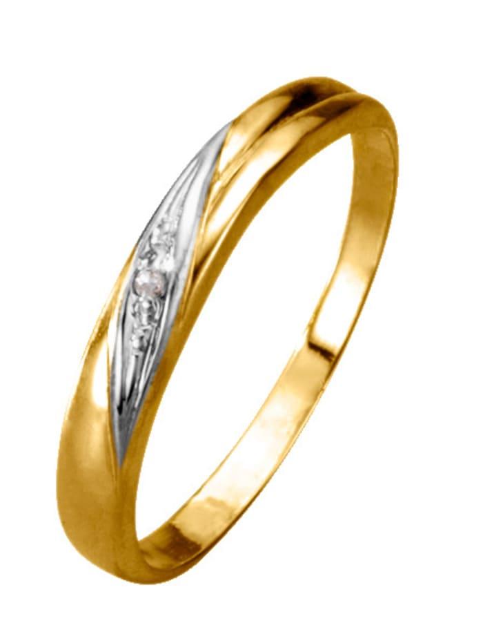 Damenring mit Diamant, Gelbgoldfarben/Weißgoldfarben
