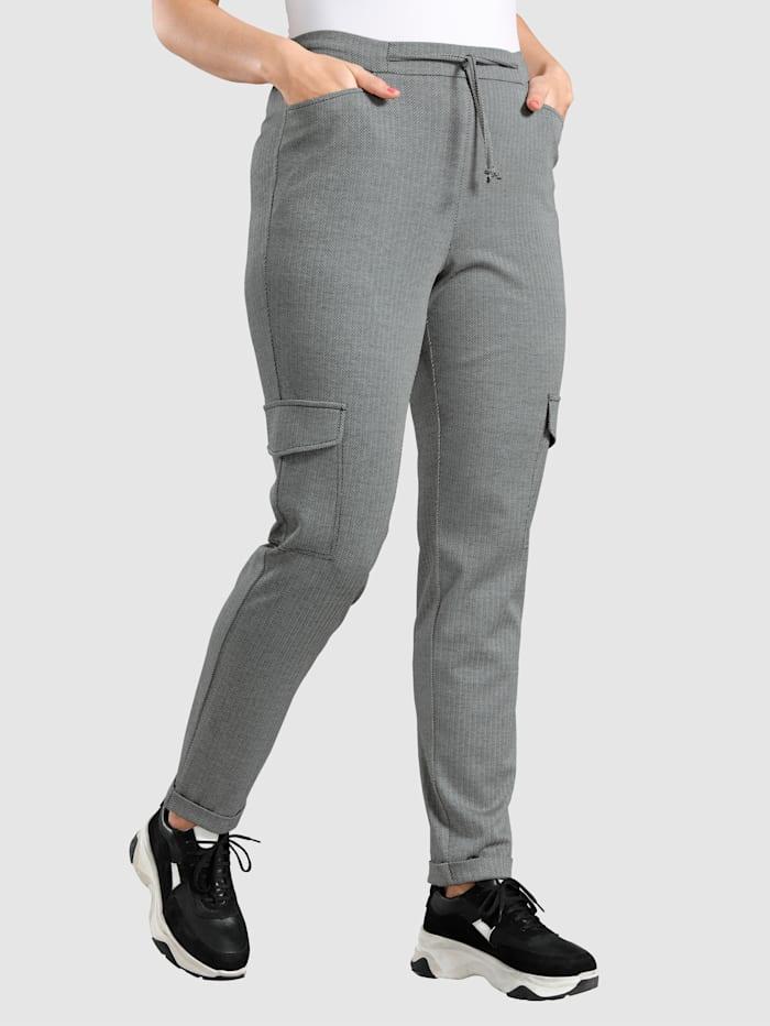 MIAMODA Cargo nohavice v módnom vzore rybej kosti, Čierna/Biela