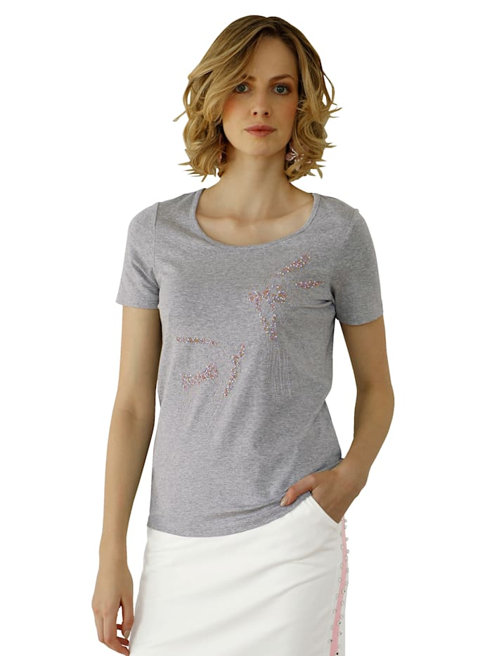 Shirt mit Stickerei und Perlendekoration im Vorderteil