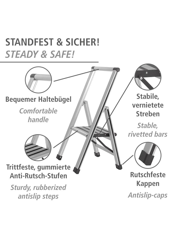 Alu-Design Klapptrittleiter 1-stufig Silber, rutschfeste Haushaltsleiter, Sicherheits-Stehleiter